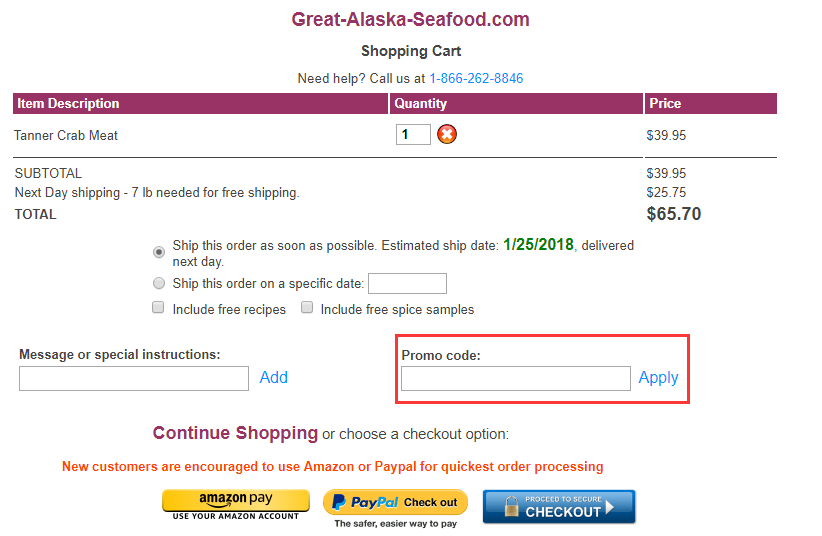 Great alaska seafood Promo Code