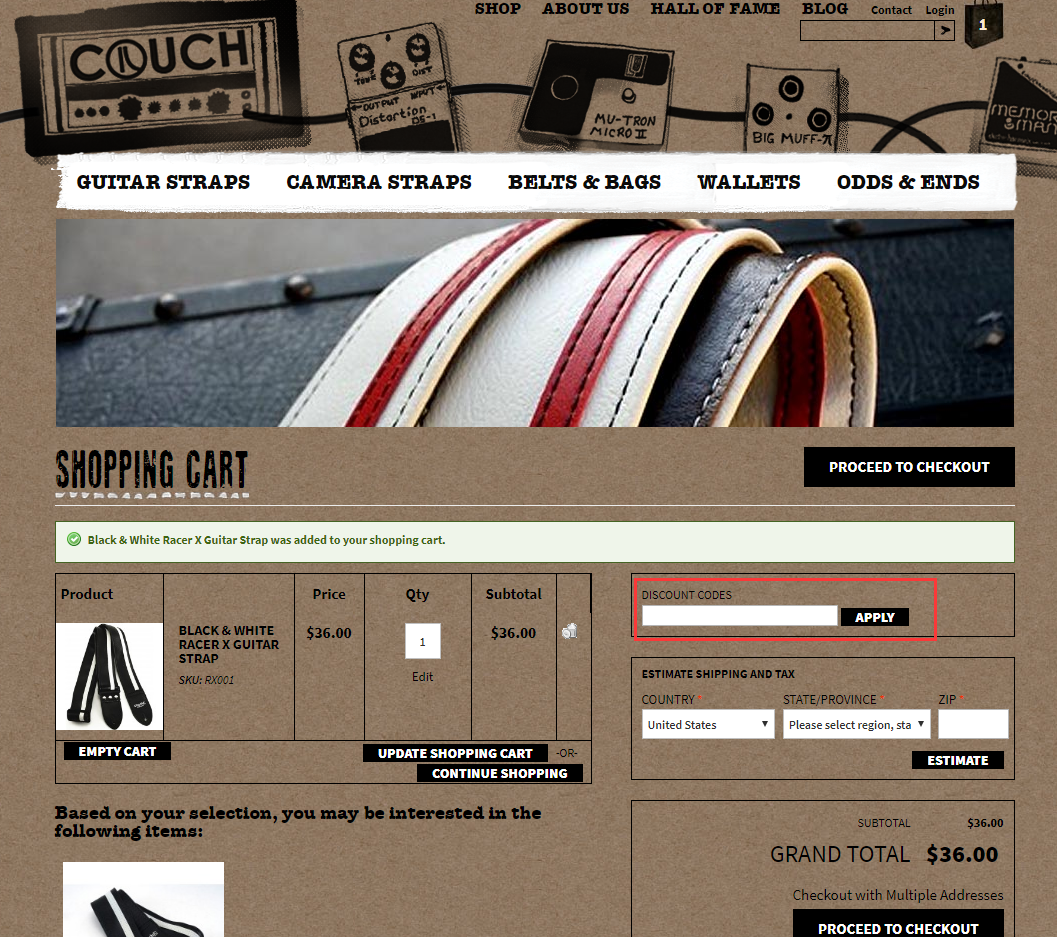 Couch Guitar Straps Promo Code