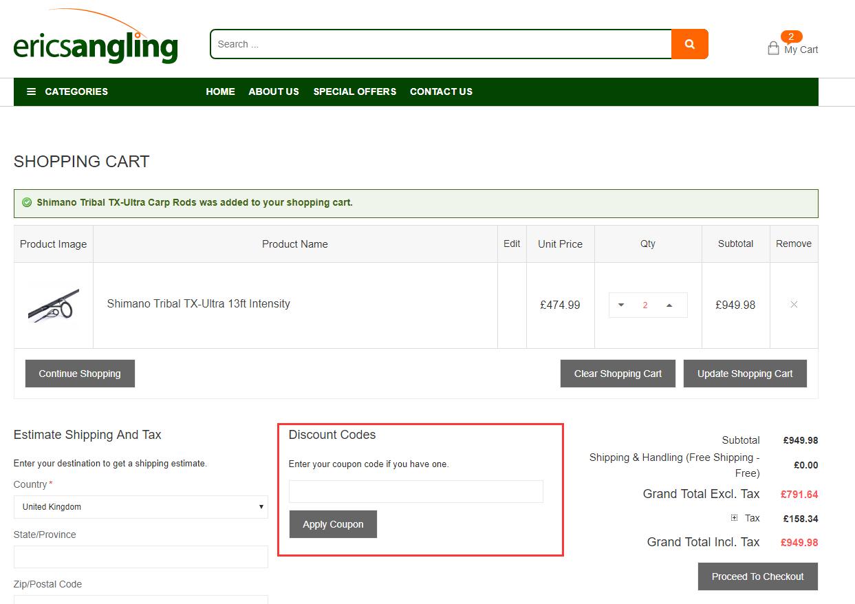 Erics Angling Discount Code