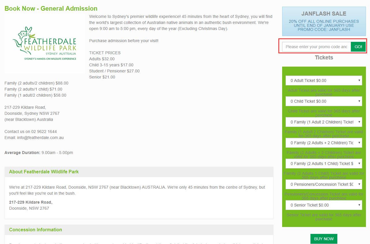 Featherdale Wildlife Park Discount Code