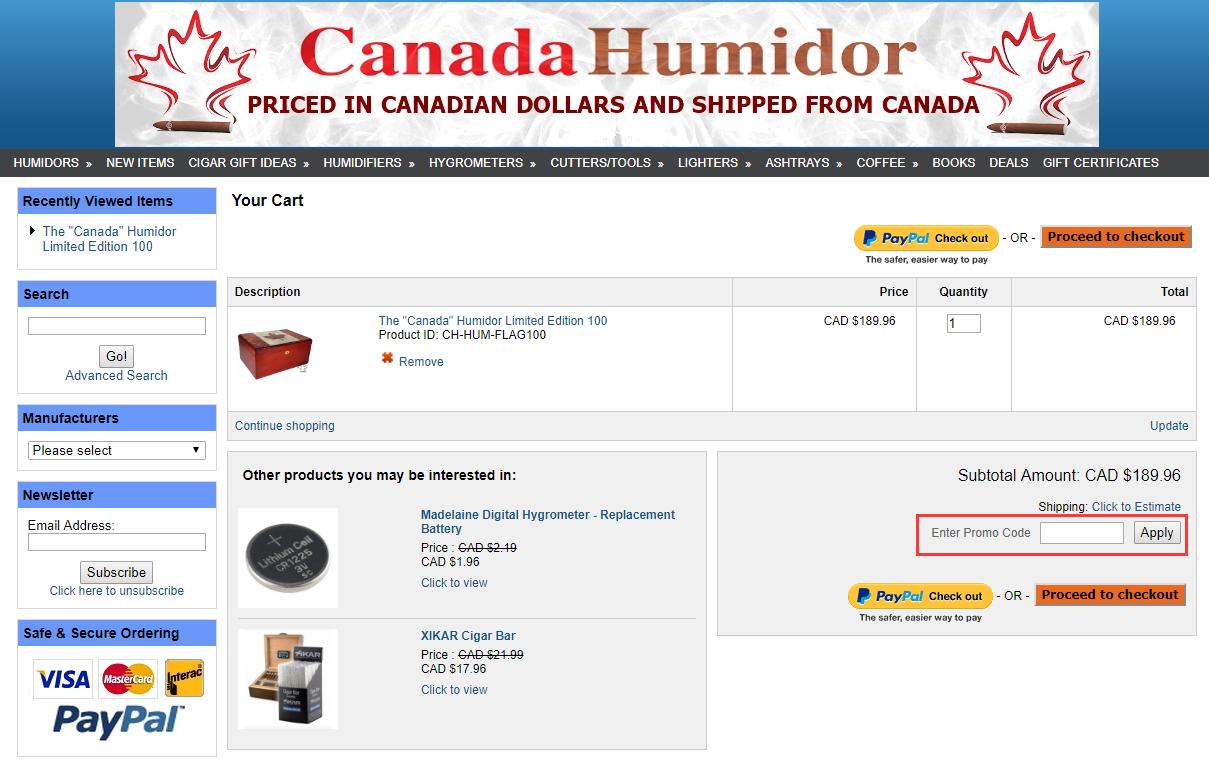 Canada Humidor Promo Code