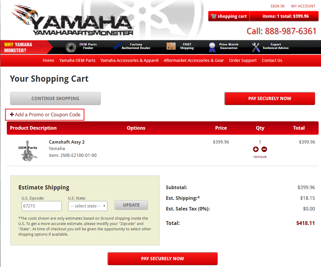 Yamaha Parts Monster Promo Code