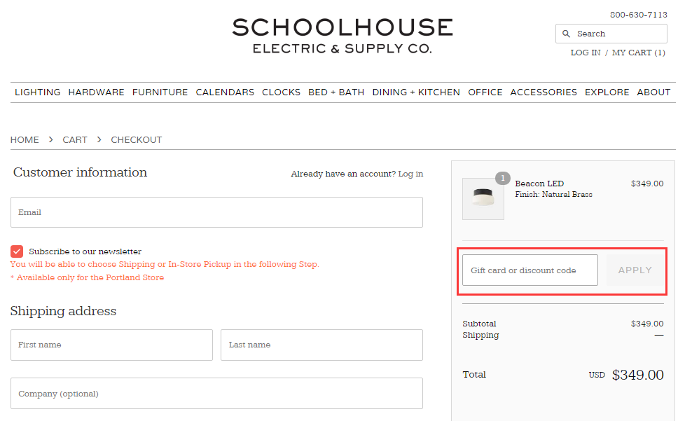 Schoolhouse Electric Promo Code