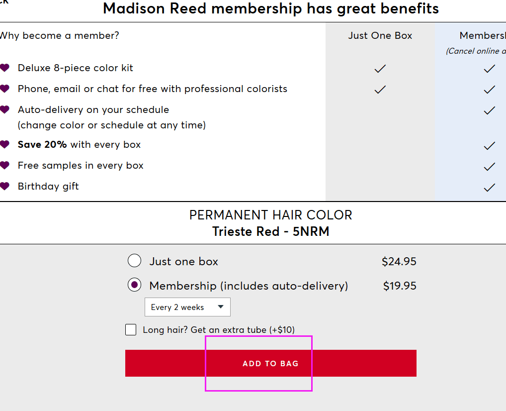 Madison Reed Discount Example